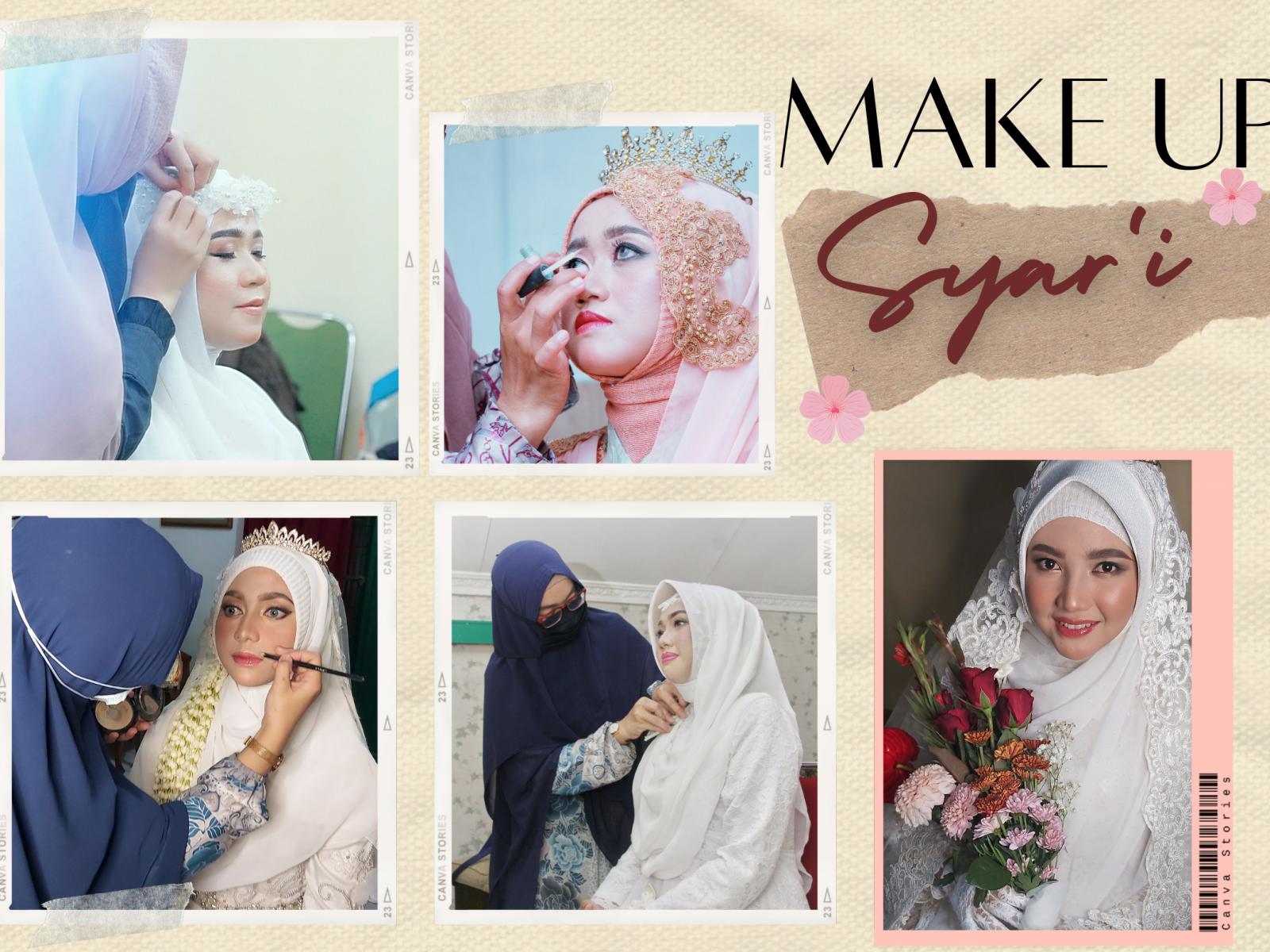 Pelopor Make Up Syari Pengantin Professional di Indonesia sejak tahun 2014. Alat dan Bahan Make Up Halal, Tanpa cukur alis, tanpa bulu mata palsu. Dengan teknik khusus membuat Pengantin Muslimah makin terlihat cantik.